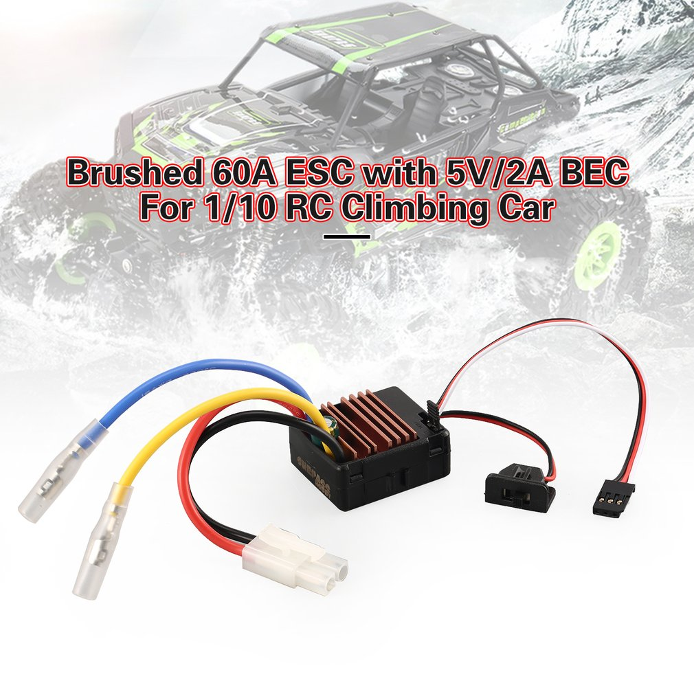 Brushed 60A ESC Electric Speed Controller with 5V/2A BEC for Axial SCX10 RC4WD D90 1/10 RC Crawler Climbing Car enlarge