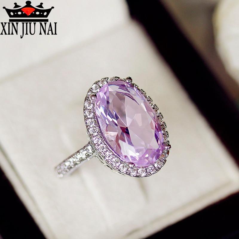 Anillo de piedra violeta ovalada a la moda con luz de huevo para Paloma, Circonia cúbica de oro blanco, joyería para fiesta, accesorios femeninos, anillos para mujer