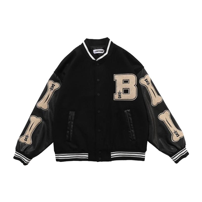 Embroidery Baseball Jacket Men and Women Color Match Oversize Windbreaker Bomber Jacket Loose Hip Hop Coat