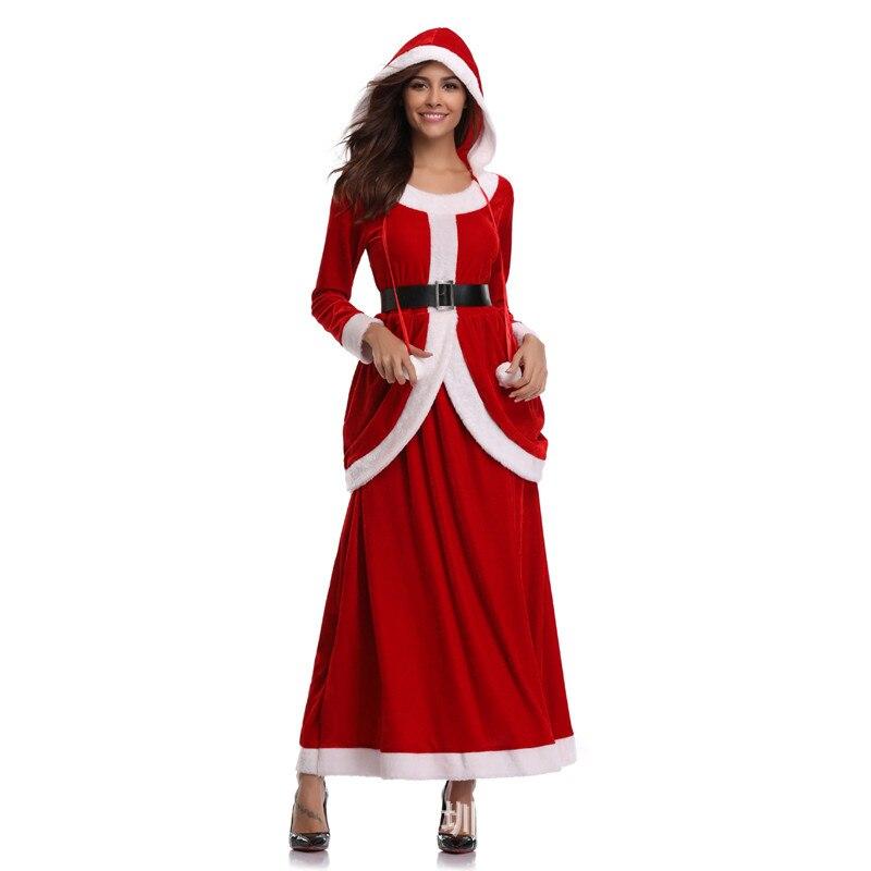 Traje de natal meninas sexy cos desempenho festa vestido vermelho roupas festa de inverno feminino natal roupas adultas