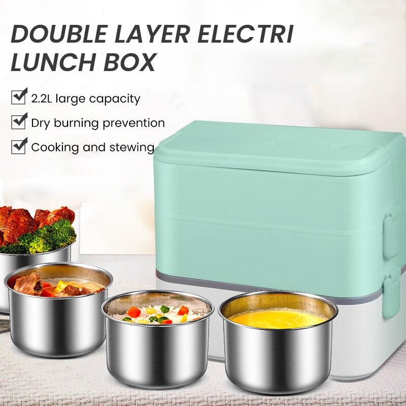 علبة طعام للتسخين الغذاء حساء الغداء-صندوق لحفظ الطعام صناديق الغداء الكهربائية المنزلية موقد صغير لطهي الأرز التدفئة الكهربائية الحرارية
