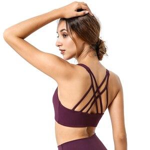 Sexy Female Workout Bra Push Up Cross Back Nylon Solid Jogging Femme Yoga Bra Top For Fitness Underwear Sports Bra For Women Gym