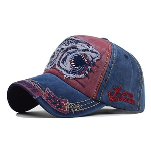 Hot Sale European and American shark embroidery baseball cap cotton 3D big letters three-dimensional embroidery hat sun hat cap