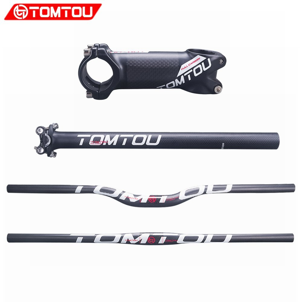 Juego de manillar de fibra de carbono TOMTOU 3K para bicicleta MTB, tija de manillar, tija de sillín, piezas de bicicleta de montaña, blanco mate, TW2T56