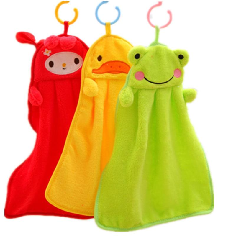 Baby Soft Plush Bath Towel Baby Nursery Hand Towel Cartoon Animal Wipe Hanging Bathing Towel For Children Bathroom