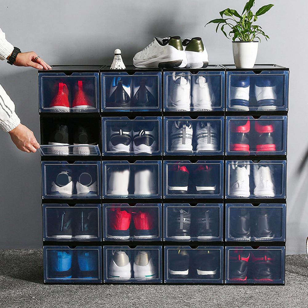 Conteneur de rangement pour chaussures, coquille de protection empilable anti-poussière, présentoir organisateur