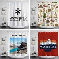 bestselling outdoor camping activities shower curtain style 4 hook natural landscape home decoration bathroom curtains