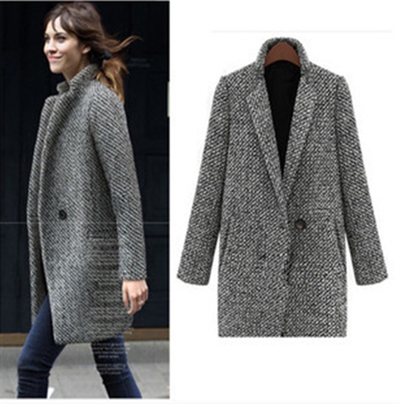 Autumn Winter Women Coat Single Button Pocket Oversize Long Trench Coat Houndstooth Wool Blend Coat Outerwear Female Wool Coat snap button hooded drop shoulder wool blend coat