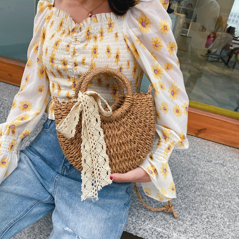 Leisure Solid Color Handmade Half-Round Rattan Woven Straw Bag Summer Women Messenger Crossbody Bags Girls Small Beach Handbag