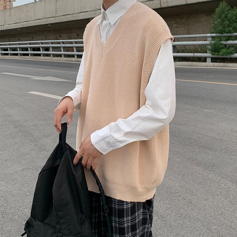 Жилет Мужской трикотажный однотонный, повседневный Свободный жилет с V-образным вырезом, уличная одежда в Корейском стиле