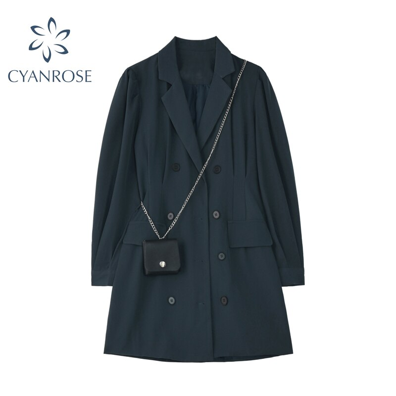 Fashion Women Blazer Dress Double Breasted 2020 Autumn Long Sleeve A-line Elegant Party Solid Office