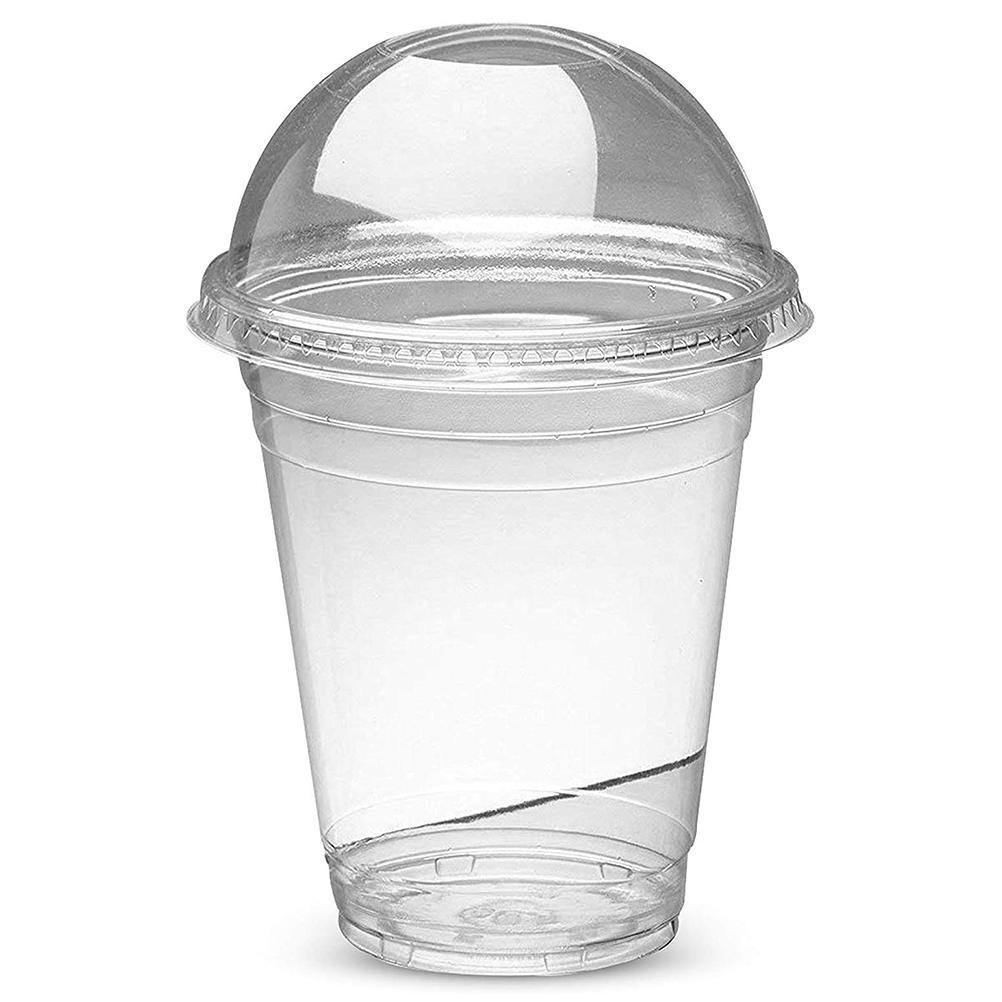 100pcs 450ml Disposable Milkshake Smoothie Cups Plastic Dessert Bowl Container with Lid for Bar Cafe Home Summer Party Tea Cups