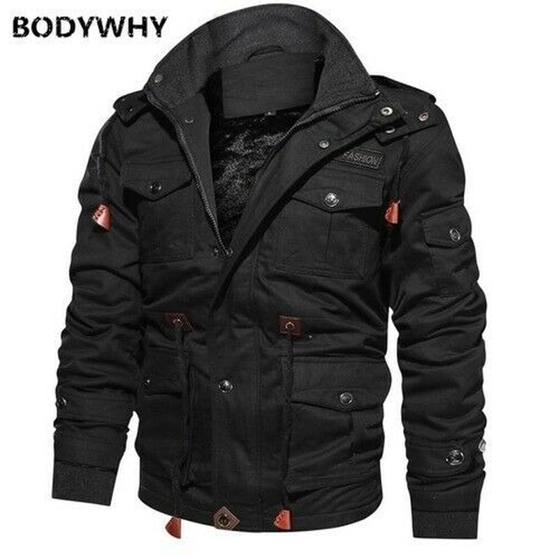 2020 Mens Autumn Winter Fashion Warm Fleece Hooded Coat Thermal Thick Outerwear Military Jacket High Quality Outdoor Camping