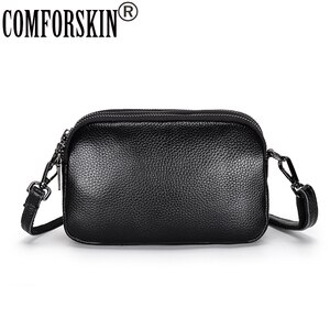 COMFORSKIN Genuine Leather Women Messenger Bag New Arrivals Fashion Three Zipper Lining Large Capacity Cross-Bag For Female