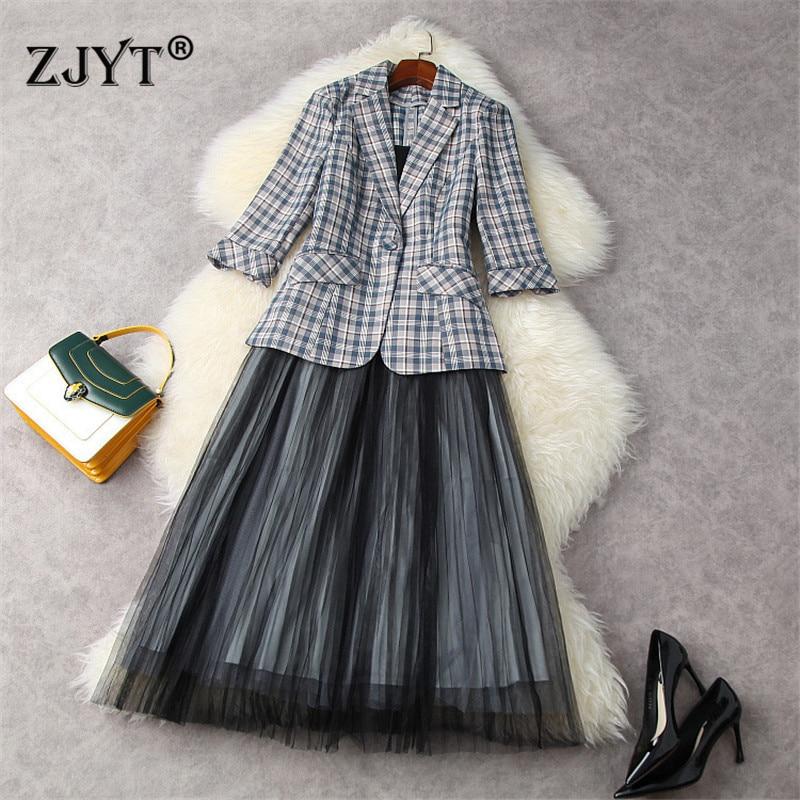 Summer Designers Lady Office Party 2 Piece Set Outfit Women Elegant Plaid Notched Blazer+Strap Mesh Dress Suit Vestidos