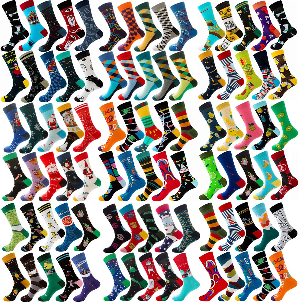 10 pairs lot pack Men women couples lovers socks  new arrival rhombus animal christmas cartoon fruit
