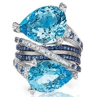 new fashion women rings blue birthstone crystal bridal wedding engagement bands jewelry for girl christmas gift