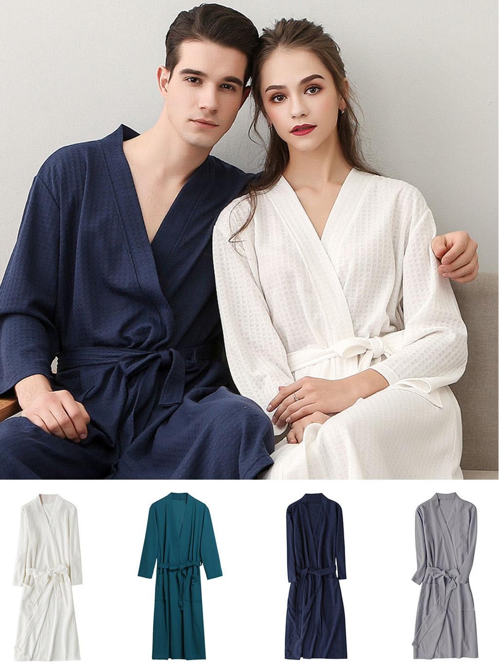 Albornoz de algodón transpirable para hombre y mujer, bata de baño Unisex, de Color sólido, empalme, para el hogar, # G3 &