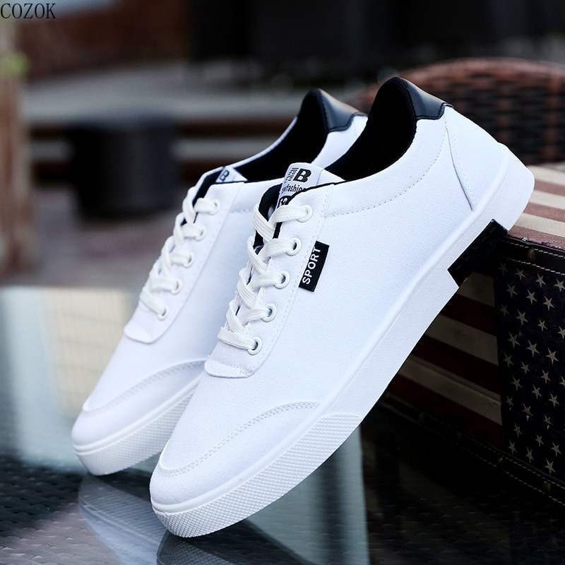 Students white shoe New Summer Men Canvas Shoes Breathable Classic Flat Male Brand Footwear Fashion