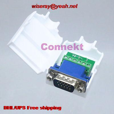 Tampa de Plástico Masculino + 2 Conectores Pcs Db15 6pin D-sub 3 Vga Linha Porca Terminal Board-a6 Dhl – Eub 50