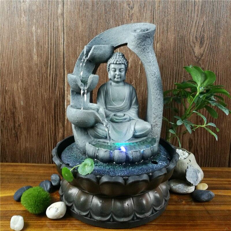 تمثال بوذا لوتس زن من الراتينج Led ، نافورة فنغشوي ، ديكور مكتب منزلي ، مساحة تأمل ، حديقة