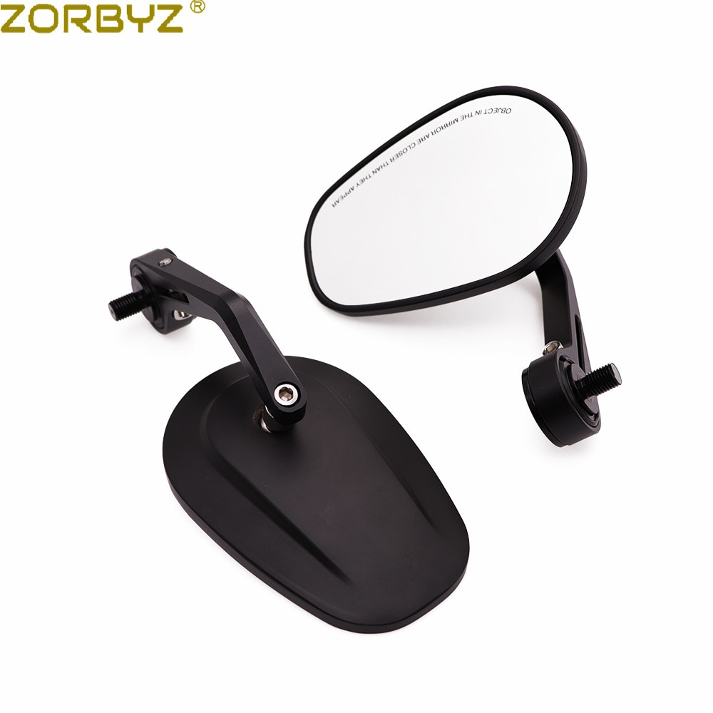 ZORBYZ, espejo de extremo de manillar ovalado de aluminio negro para motocicleta, rosca de perno de 10mm, ajuste interior para FB Mondial Aprilia CR150