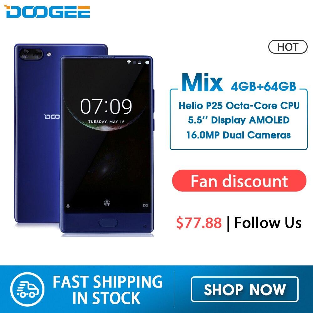 Versión americana DOOGEE MIX 4GB + 64GB teléfono inteligente sin bisel Cámara Dual 5,5 AMOLED MTK Helio P25 Octa Core teléfonos móviles