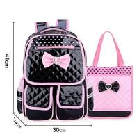 Children School Backpack for Girls School Bags Set Bowtie PU Leather Waterproof Schoolbag Primary Student Backpacks Kids Satchel