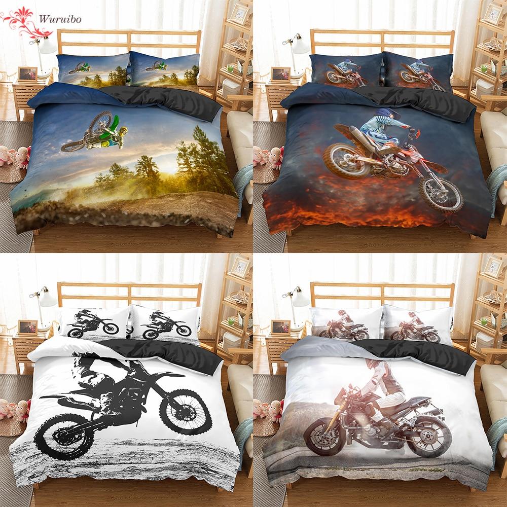 Homesky موتوكروس طقم سرير للبنين الكبار الاطفال على الطرق الوعرة سباق دراجة نارية حاف الغطاء غطاء السرير الملك واحد مزدوج 2/3 قطعة دعوى