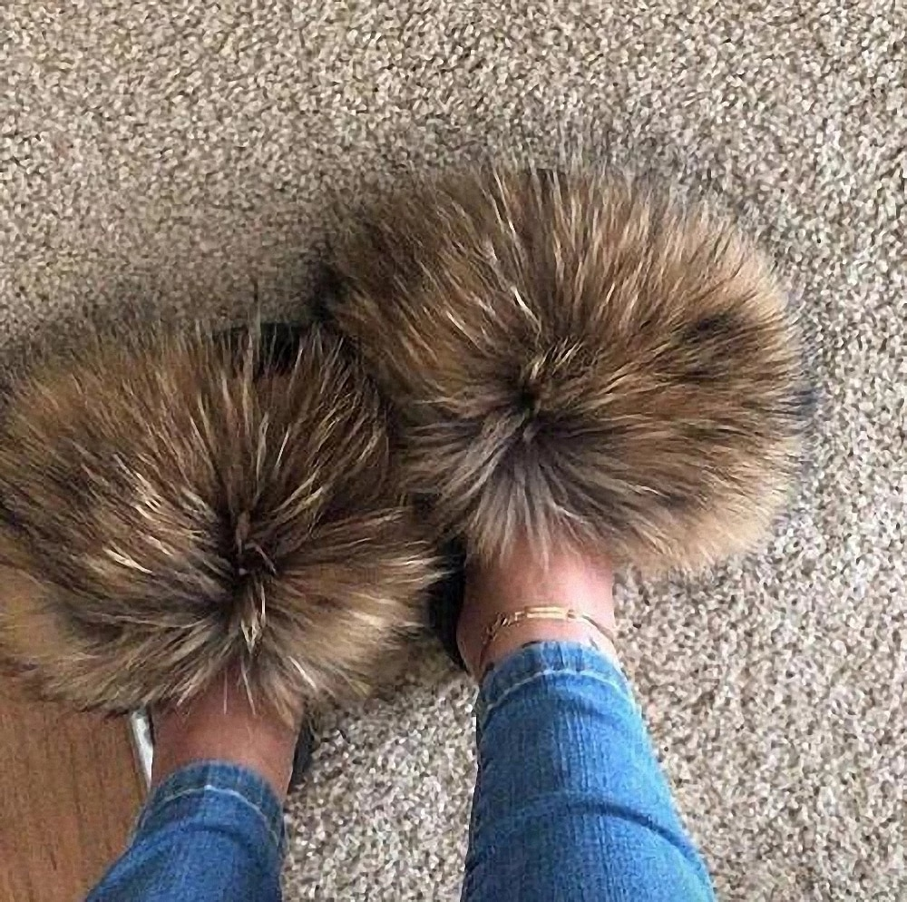 Hot Summer Women Fox Fur Slippers Real Fur Slides Female Indoor Flip Flops Casual Raccon Fur Sandals