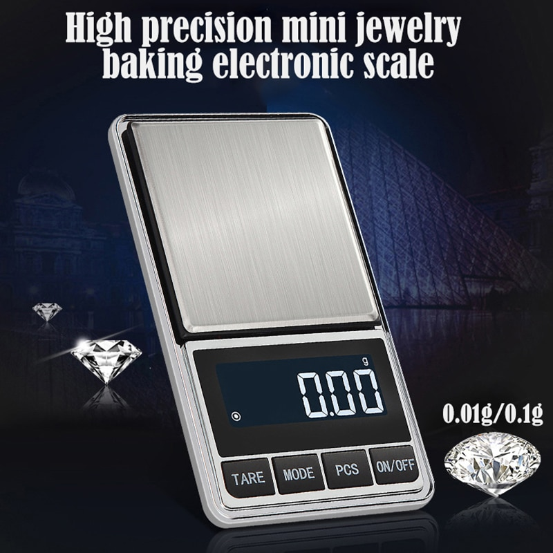 Portable Jewelry Scale Balance Gram Scale 100/200/300/500g 0.01/0.1g Precision Electronic Balance Electronic Pocket Scale