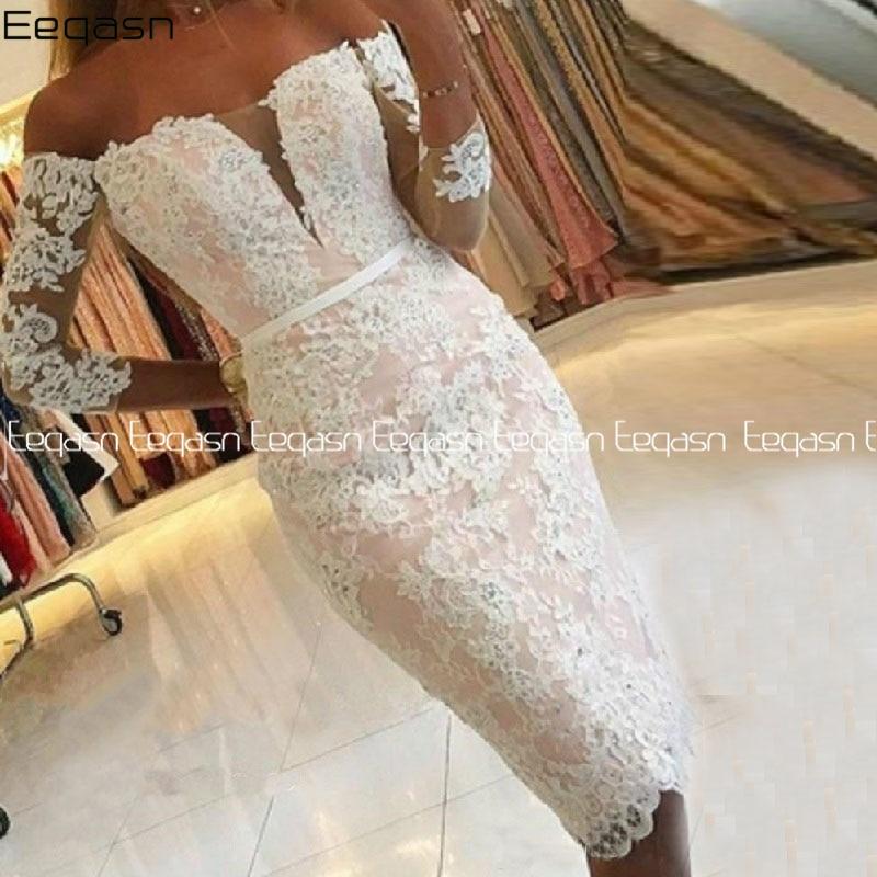 فستان كوكتيل أنيق ، طول الركبة ، مزين بالدانتيل ، أكتاف عارية ، أكمام 3/4 ، تأثير الوهم في الخلف ، 2020
