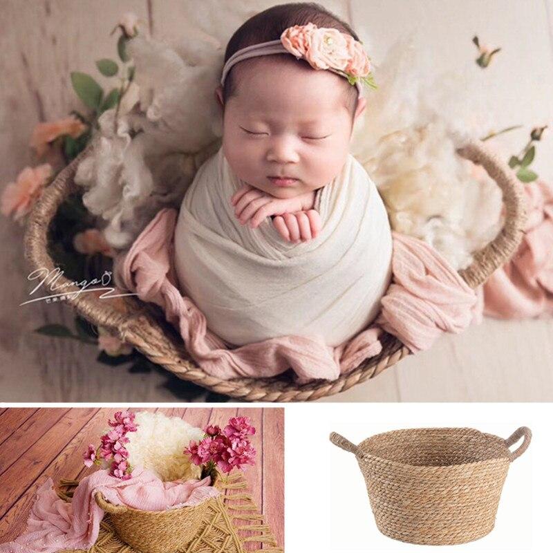 Newborn Props for Photography Natural Linen Weaving Double Barrel Bed Fotografia Infantil Baby Posing Sofa Handwoven Basket Boy