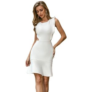 Ladies Sexy V-Neck White Beautiful Bodycon Club Party Dresses Vestidos Wholesale