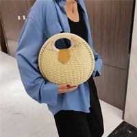bolsas feminina 2020 summer round bags small handmade rattan handbag female shoulder hand bag woman beach totes flap single
