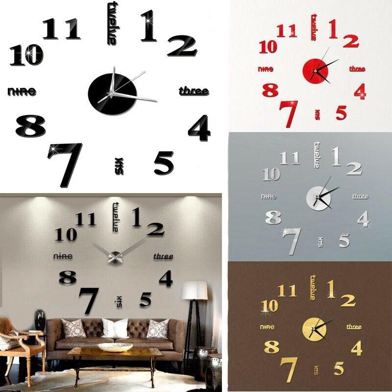 Moderna Casa DIY Analógico 3D Número Espelho Adesivo de Parede Relógio Arte Decoração Sala de estar