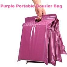 50 unids/lote, bolsa de mano púrpura, bolsa exprés, bolsas de mensajería, autoselladas, adhesivas, gruesas, impermeables, bolsas de correo de plástico polivinílico