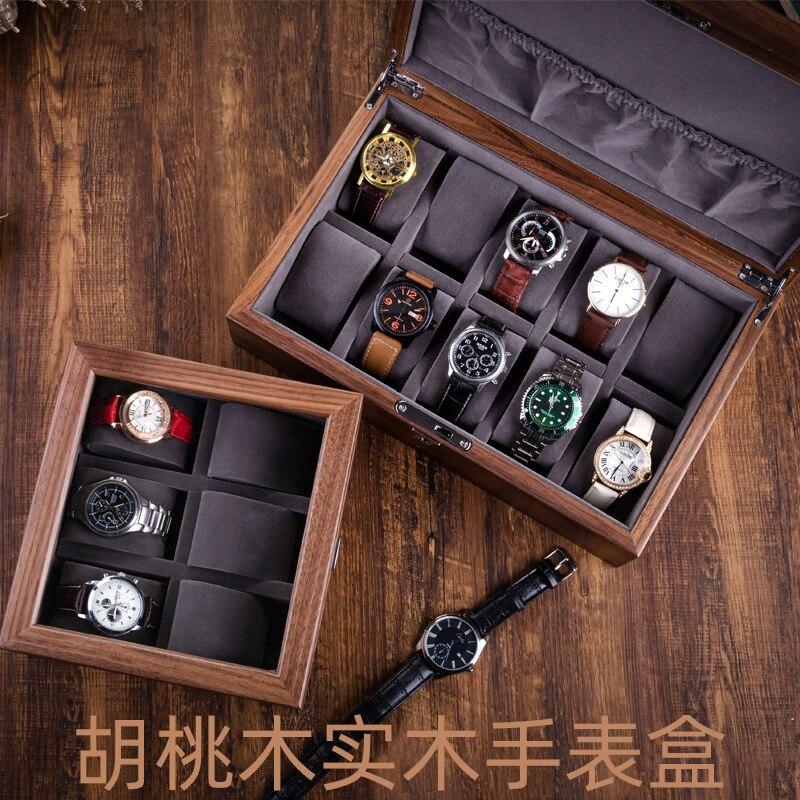Walnut Wood Watch Boxes Storage Organizer Box 10 Slots Brown Storage Box with Lock Jewelry Bracelet Display Cabinet Case Gift enlarge