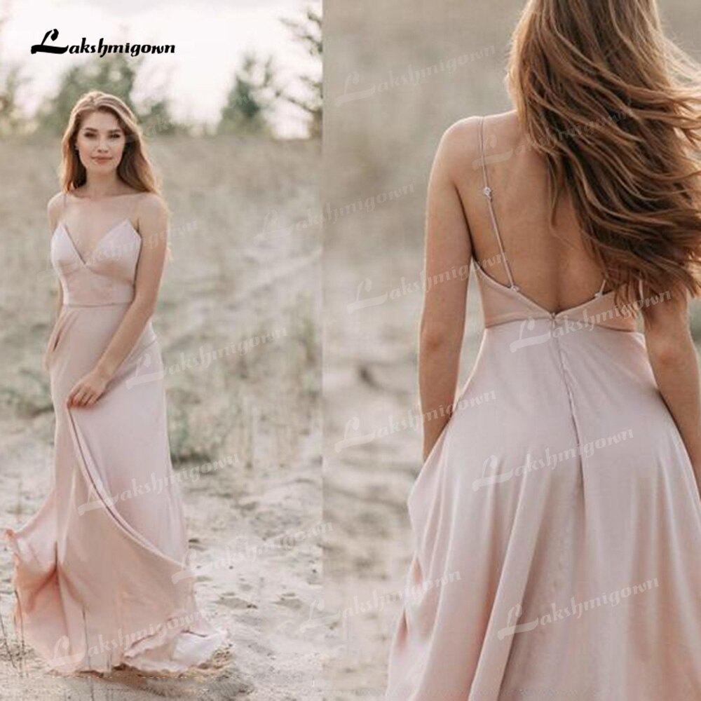 Promo A-Line Wedding Dresses Chiffon And Tulle Spaghetti Straps Neck Sexy Low-V Sleeveless Open Back Sweep/Brush Bride Gowns Pleats
