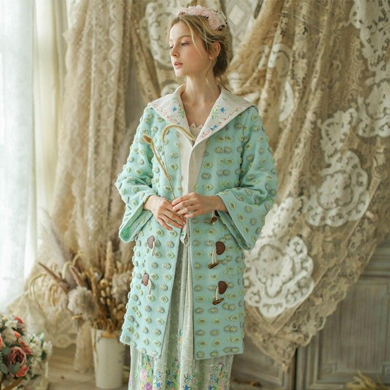 Женское винтажное элегантное шерстяное пальто Mori Girl с вышивкой и отворотом, милая длинная верхняя одежда, бесплатная доставка