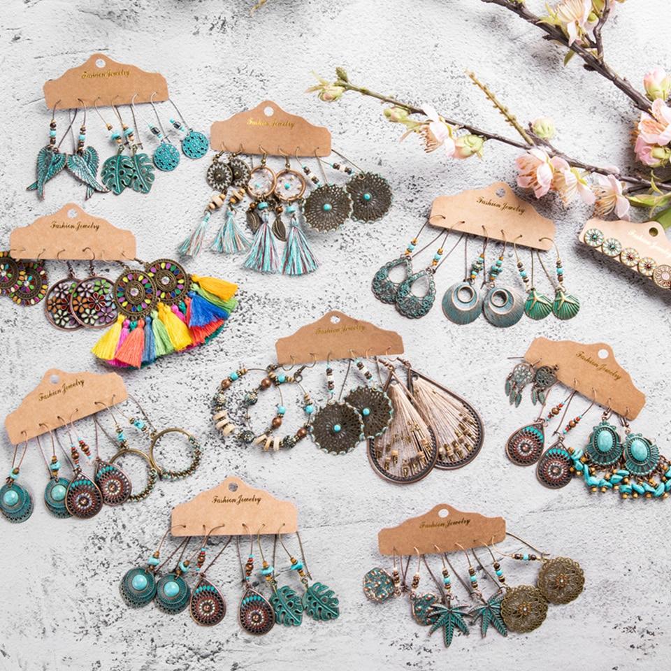 Vintage Ethnic 30 New Big Round Bronze Earrings Set For Women Bohemian Flower Shell Tassel Geometric Water Drop Earring Jewelry
