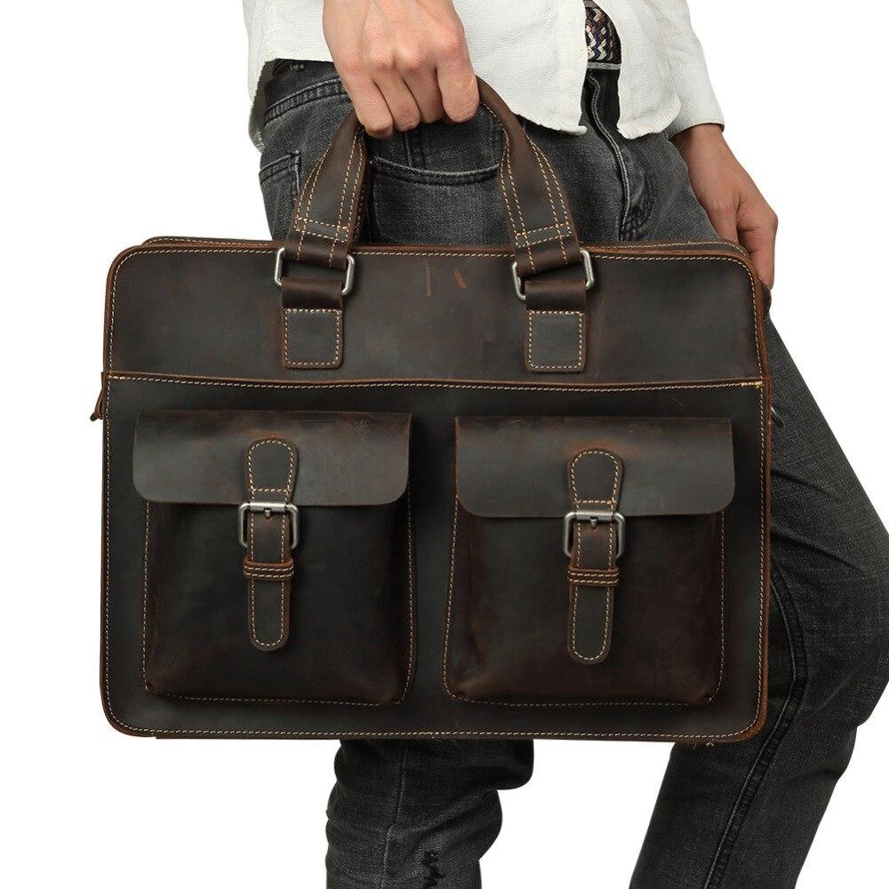 2021 Vintage Men's Cow Genuine Leather Briefcase Crazy Horse Leather Messenger Bag Male Laptop Bag Men Business Travel Bag