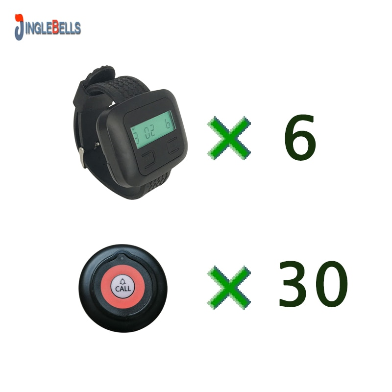Wireless Restaurant Calling System 6 Watch Receiver With Battery+30 Buttons Pager Frequency 433.92 For Cafe Office or Factory