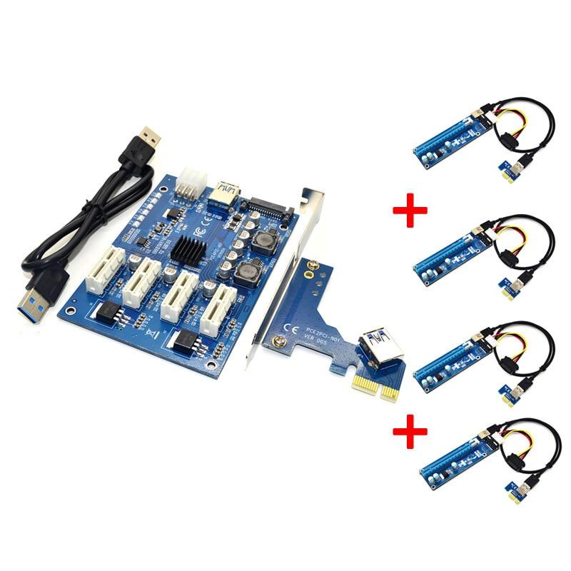 Kit de elevador PCIE 1 a 4 PCI E Express 1X a 16X Tarjeta de aumento Mini ITX 1X a externo 4 tarjeta adaptador de ranura PCI-E para minería BTC Miner
