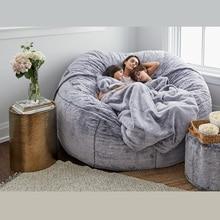 JOYLIVE Giant Fur Bean Bag Cover Living Room Furniture Big Round Soft Fluffy Faux Fur BeanBag Lazy Sofa Bed Coat Dropshipping