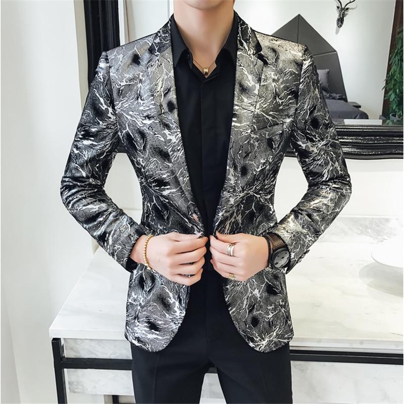 Silver Sequin Slim Blazer High Quality Velvet 2020 Men's Designer Blazer Singer Stage Costume Plus Size 5XL Men Slim Fit Blazer