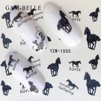 gam belle 1pcs nail sticker flower butterfly rosehorse water transfer decals for nail art sliders set foils decoration