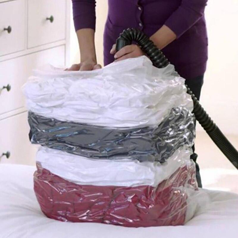 1 bolsa de vacío casera para Bolsa de Almacenamiento de Ropa con borde transparente de válvula, organizador comprimida plegable, bolsa de paquete de sellado de ahorro