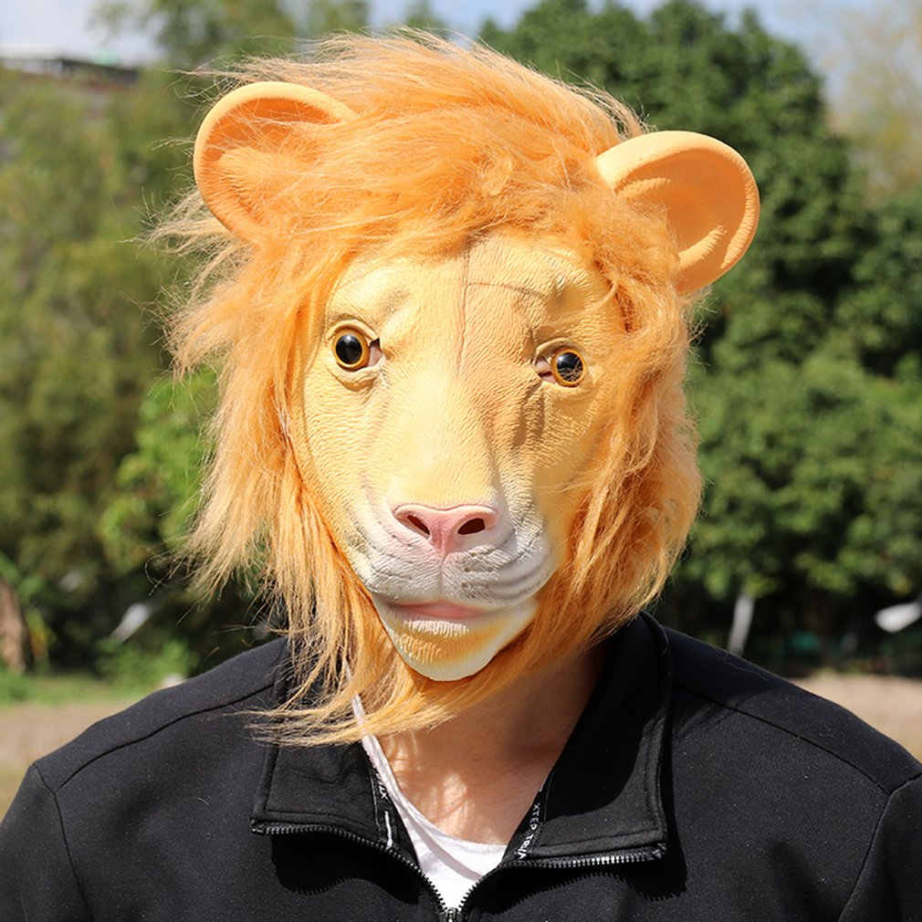Lion Mask Latex Animal Funny Prom Party Prop Headgear Halloween Cosplay Decoration Horror Modeling
