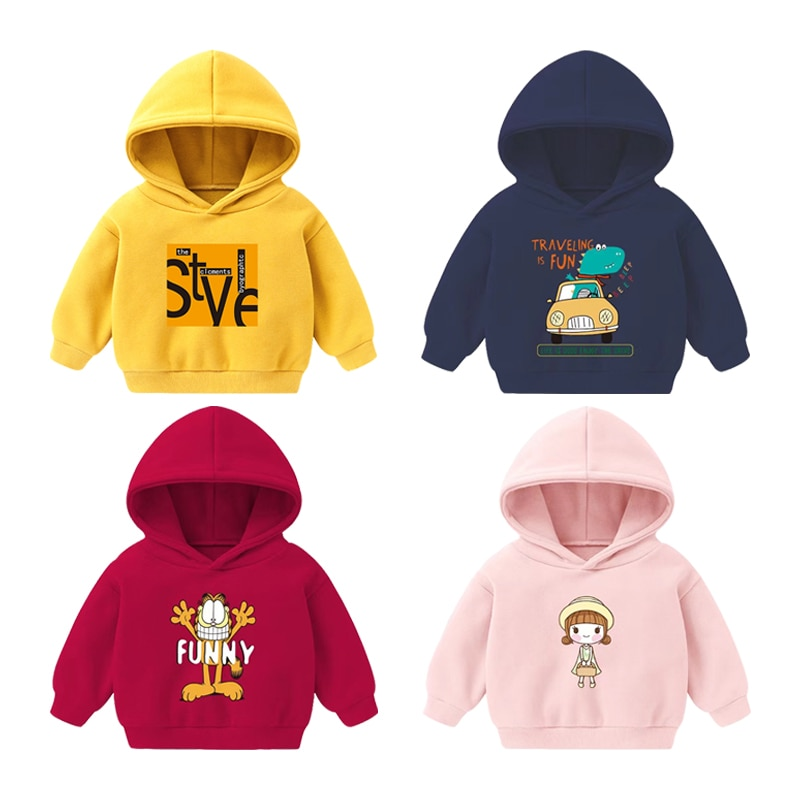 Baby Boys Girls Casual Sweatshirts Long Sleeve Cartoon Hooded Jacket Tops Warm Pullovers Clothes For Kids 2-5Y Fleece Hoodie